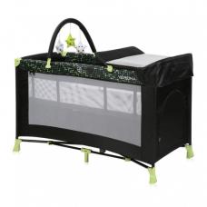Манеж-кроватка Lorelli Verona 2L+ Black-green dots