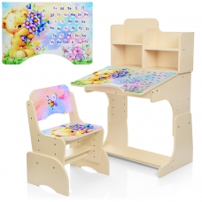 Детская парта с надстройкой и стулом Bambi B 2071-54-5 Мишка