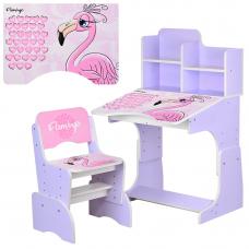 Детская парта с надстройкой и стулом Bambi W 2071-74-4 Фламин