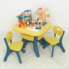 Столик с 2-мя стульями и конструктором Bambi WM19102-6 Желтый