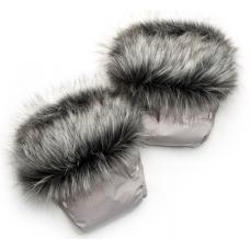 Рукавички для мамы на коляску Модный Карапуз Чернобурка Серый