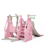 Детский набор Горка+качели+баскетбол Bambi WM19016-8 Серо-розовый