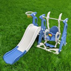Детский набор Горка+качели+баскетбол Bambi WM19083A-4 Синий