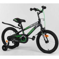 Детский двухколесный велосипед Corso R-16218 Черно-зеленый