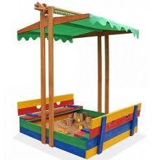 Деревянная цветная песочница с крышкой и крышей Sportbaby-10