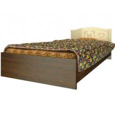 Детская кровать Вальтер Мишка (190x120 см) Ваниль-темный орех